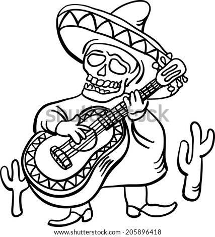 whiteboard drawing - mexican traditional character with guitar - stock vector