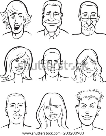 whiteboard drawing - people faces collection - stock vector