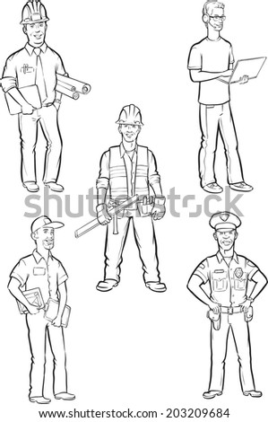 whiteboard drawing - professional men - stock vector