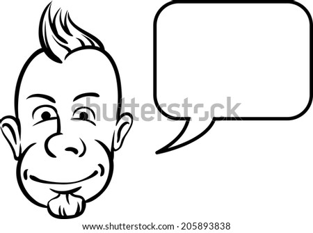 whiteboard drawing - punk face with speech bubble - stock vector