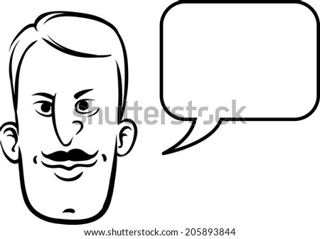 whiteboard drawing - retro face with speech bubble - stock vector