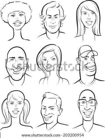 whiteboard drawing - smiling people faces collection - stock vector