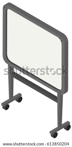 whiteboard with wheels on white background