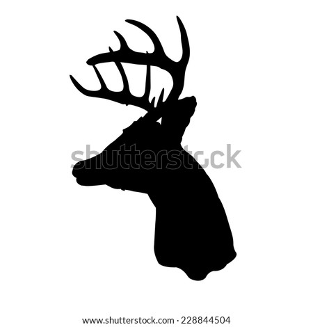 Whitetail deer head silhouette - stock vector
