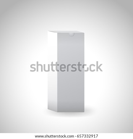 Whithe long box on silver background. 3d realistic vector illustration.