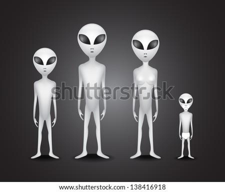 Whole alien family - illustration - stock vector