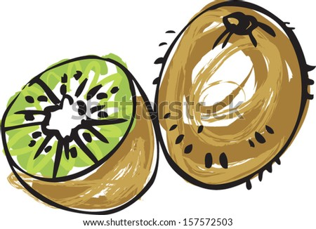 Whole and half Kiwi vector illustration