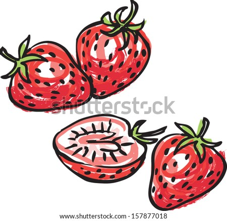 Whole and sliced strawberries vector illustration - stock vector
