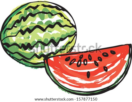 Whole and sliced Watermelon vector illustration - stock vector