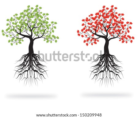 whole green and red tree with roots isolated white background vector - stock vector