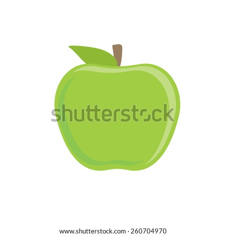 Whole green apple vector isolated, fruit healthy, fresh fruit, healthy food - stock vector