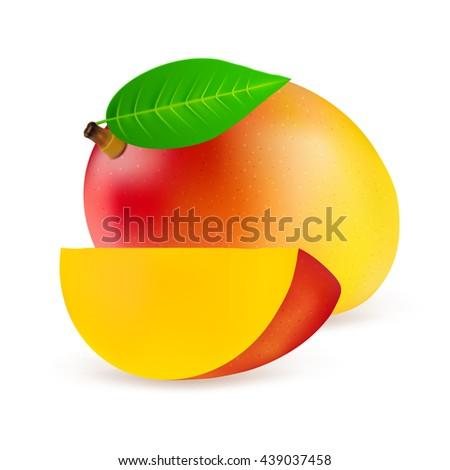Whole mango fruit with slice isolated on white background. Realistic vector illustration. - stock vector
