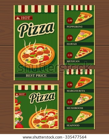 Whole pizza and slices and the ingredients. Pepperoni, Hawaiian, Margherita, Mexican, Seafood, Capricciosa. Isolated vector retro vintage illustration for poster, menus, logotype, brochure. - stock vector