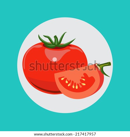 whole tomato and half of tomato vector flat design icon