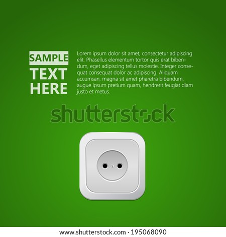 Whte socket in the green wall - stock vector