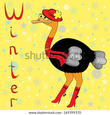 Why Ostrich is so cold in winter? Cheerful Ostrich in a red hat, scarf on neck and boots on the background of a winter motif. Hand drawing cartoon vector illustration - stock vector