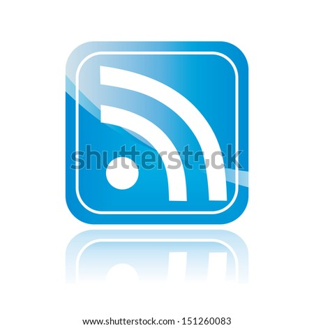 Wi-fi blue symbol, isolated icon, rss sign. Wireless Network button. Vector illustration.