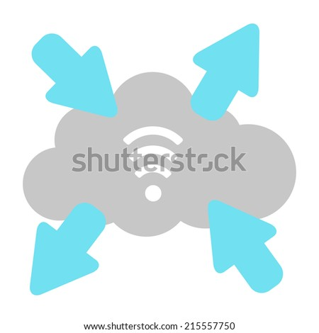 wi-fi cloud. isolated on white background. concept of wireless data transmission. flat design modern vector illustration - stock vector