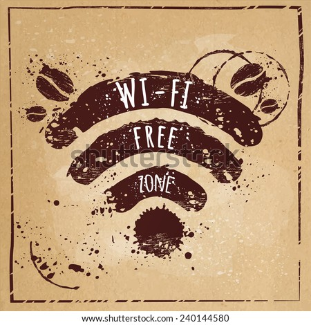 Wi-fi coffee,Wi-fi free zone, Wi-fi symbol with splashes on the kraft paper texture - stock vector