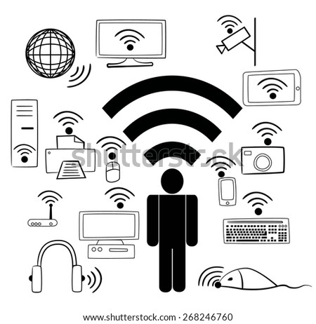 Wi Fi devices and people - stock vector