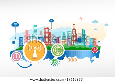 Wi fi emblem and cityscape background with different icon and elements. Design for the print, advertising. - stock vector