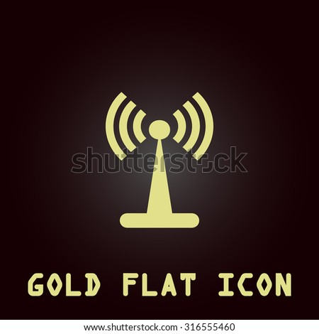 Wi-Fi. Gold flat vector icon. Symbol for web and mobile applications for use as logo, pictogram, infographic element - stock vector