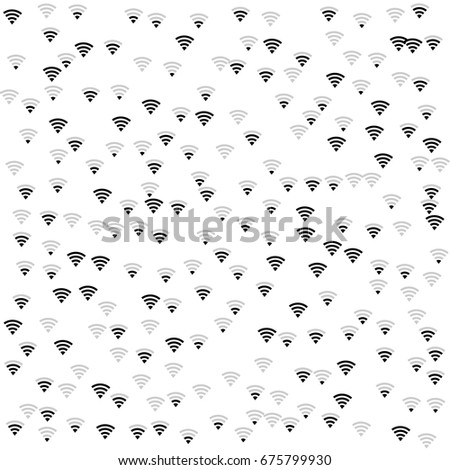 Wi-Fi icons vector pattern. Wireless internet area, wifi mobile network, connection symbols. Black and white background, wi-fi zone concept. Digital technology signs, communication service elements.