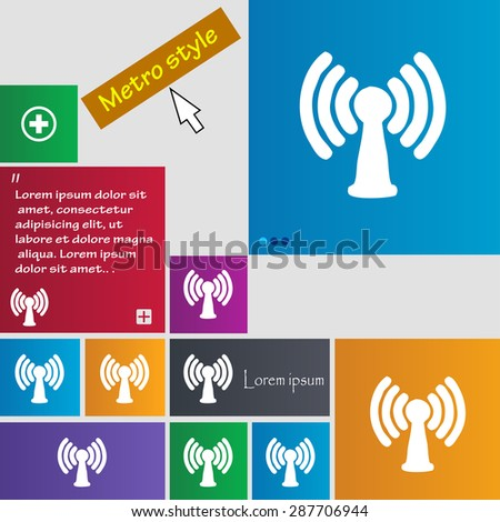 Wi-fi, internet icon sign. buttons. Modern interface website buttons with cursor pointer. Vector illustration - stock vector