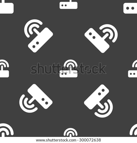 Wi fi router icon sign. Seamless pattern on a gray background. Vector illustration - stock vector
