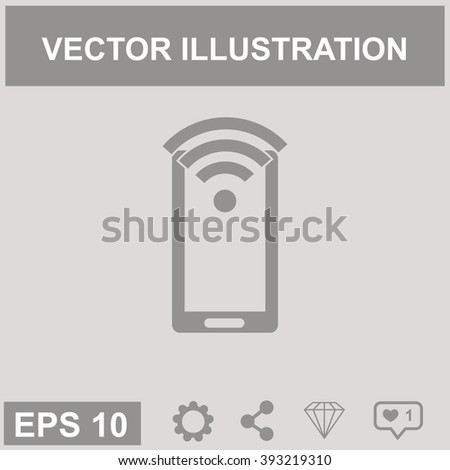 Wi-Fi sign on phone vector icon.