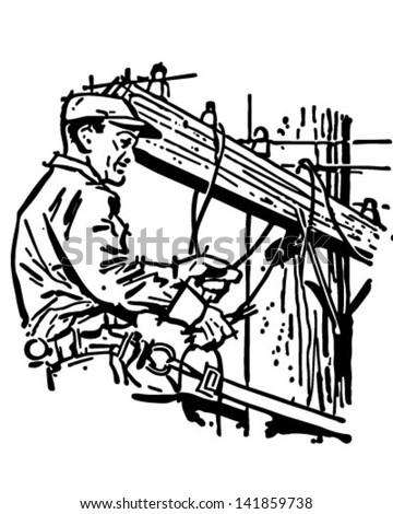 Wichita Lineman - Retro Clip Art Illustration - stock vector