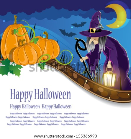 Wicked witch with a lantern and three pumpkins with leaves and sprouts. Abstract Halloween background - stock vector
