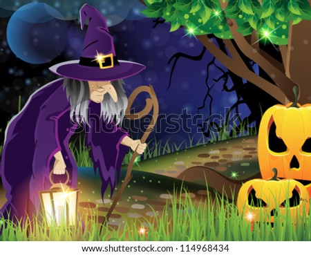Wicked witch with a lantern walking along a forest path and the two smiling pumpkin head - stock vector