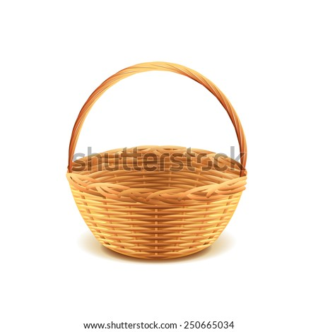 Wicker basket isolated on white photo-realistic vector illustration - stock vector