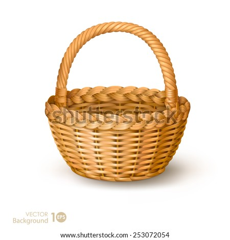 Wicker basket. Vector. - stock vector