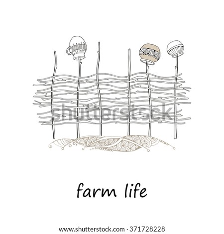 Wicker fence of osier branches with hanging ceramic pots isolated on white background. Elements of farm life in contour style.