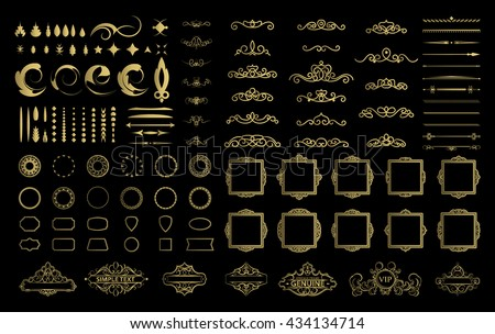 Wicker lines and decor elements in vector. Vintage borders, frame collection in gold color. Retro page decoration. Decoration for logos, wedding album or restaurant menu. Calligraphic design elements - stock vector
