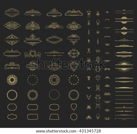Wicker lines and old decor elements in vector. Vintage borders, frame and rosette in set. Vector page decoration. Decoration for logos, wedding album or restaurant menu.  - stock vector