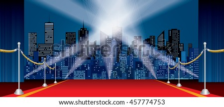 wide horizontal stage, blue curtain, red carpet, cityscape skylines
