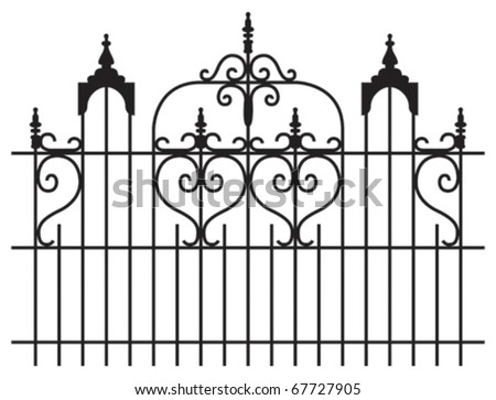 Wide iron gates with curly design isolated illustration - stock vector