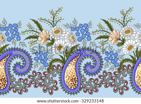 wide seamless border, with paisley, decorated with leopard skin fragments, small blue flowers, branches of mimosa, roses and white daisies on a blue background  - stock vector