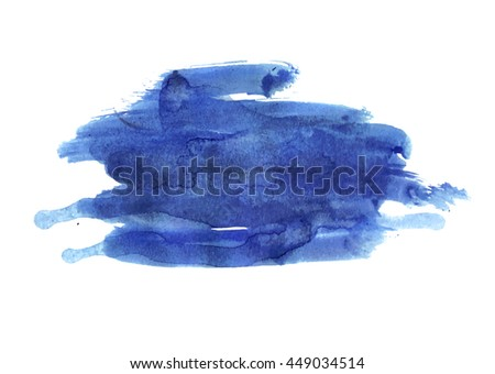 Wide smear watercolor paint. Blurred blue stain. Watercolor drips. Nice element for your project.