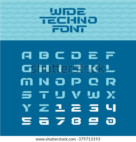 Wide techno poster font. Geometric angular letters with numbers.