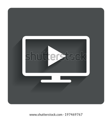 Widescreen TV mode sign icon. Television set symbol. Gray flat button with shadow. Modern UI website navigation. Vector