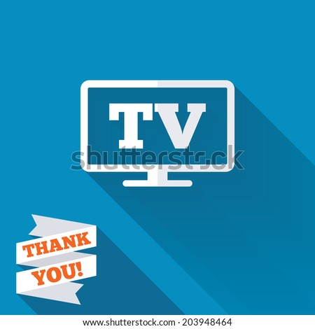Widescreen TV sign icon. Television set symbol. White flat icon with long shadow. Paper ribbon label with Thank you text. Vector - stock vector