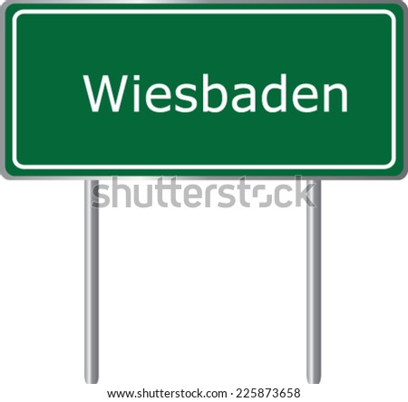 Wiesbaden, Germany, road sign green vector illustration, road table - stock vector