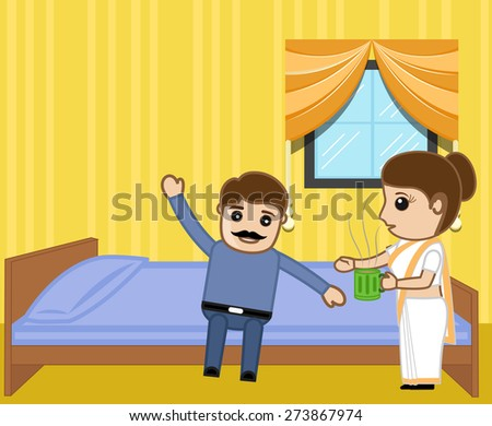 Wife Giving Coffee to Her Husband in Morning - stock vector