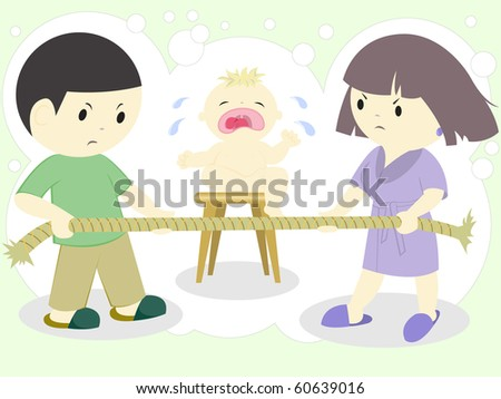 wife quarrel over tight rope and crying child - stock vector