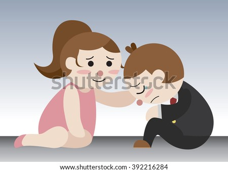wife soothe her depressed husband - stock vector
