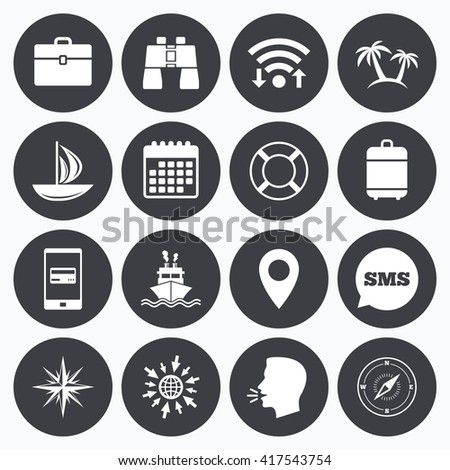 Wifi, calendar and mobile payments. Cruise trip, ship and yacht icons. Travel, cocktails and palm trees signs. Sunglasses, windrose and swimming symbols. Sms speech bubble, go to web symbols. - stock vector